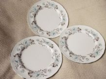 "3 X AYNSLEY 6.5"" DIA CAROLINE SILVER RIM SIDE PLATES GREAT USED CONDITION 1ST Q"